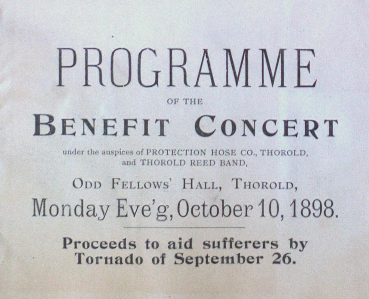 Teresa Vanderburgh's Musical Scrapbook #1 - Benefit Concert Program for September 26 Tornado Sufferers