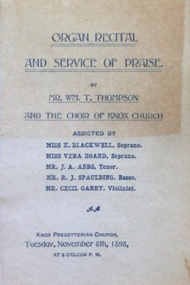 Teresa Vanderburgh's Musical Scrapbook #1 - A Program for an Organ Recital at Knox Presbyterian Church