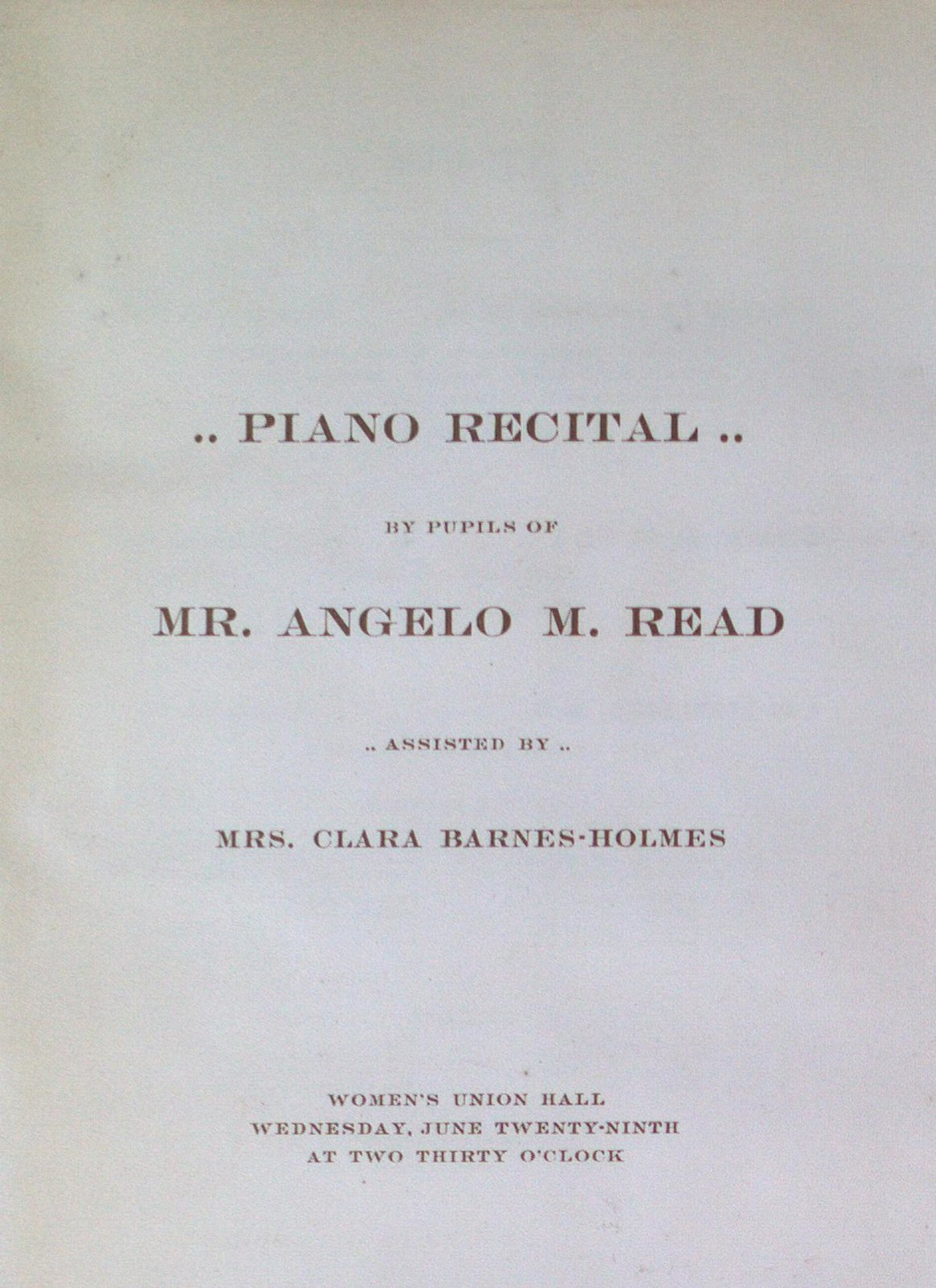 Teresa Vanderburgh's Musical Scrapbook #1 - Program for a Piano Recital in Buffalo