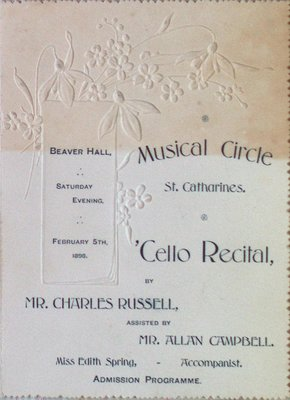 Teresa Vanderburgh's Musical Scrapbook #1 - Musical Circle of St. Catharines Admission Program for a Cello Recital