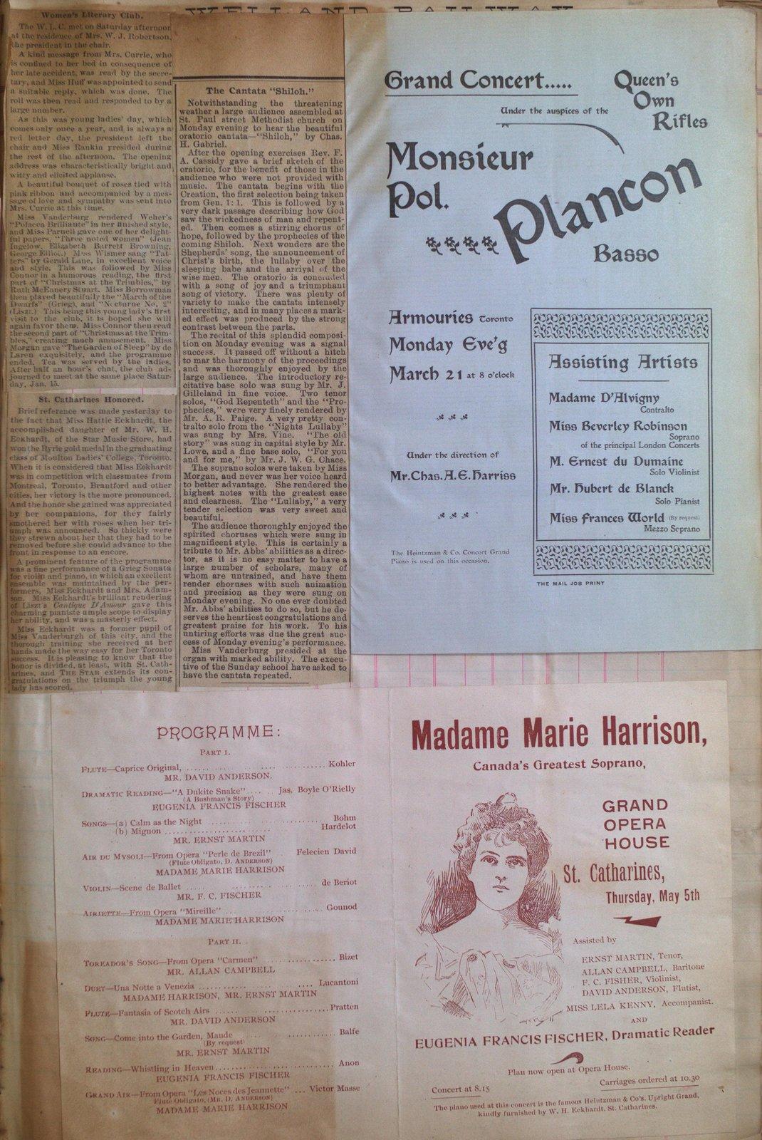 Teresa Vanderburgh's Musical Scrapbook #1 - Musical Programs and Newspaper Clippings