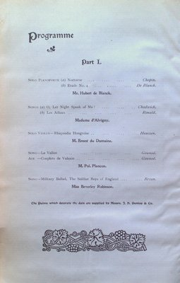 Teresa Vanderburgh's Musical Scrapbook #1 - Program for a Grand Concert at the Toronto Armouries