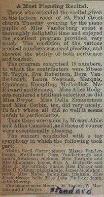Teresa Vanderburgh's  Musical Scrapbook #1 - Newspaper Clipping describing a Piano Recital