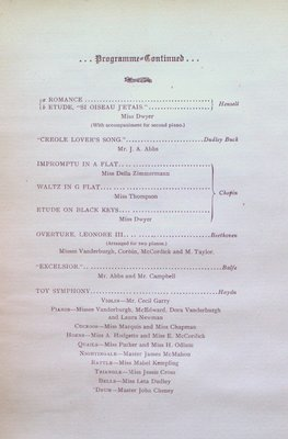 Teresa Vanderburgh's Musical Scrapbook # 1 - Program for a Piano Recital
