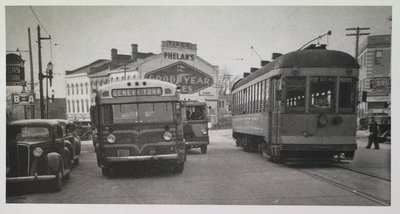 A NS&T Car and Bus at the Intersection of St. Paul Street, Ontario Street and St. Paul Crescent