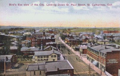 Bird's Eye View of St. Catharines Looking Down St. Paul Street