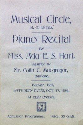 Teresa Vanderburgh's Musical Scrapbook #1 - Program for a Musical Circle Piano Recital