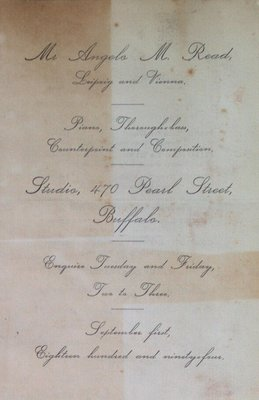 Teresa Vanderburgh's Musical Scrapbook #1 - Pamphlet for Musical Instruction Offered by Angelo M. Read
