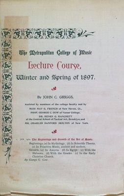 Teresa Vanderburgh's Musical Scrapbook #1 - The Metropolitan College of Music Lecture Course