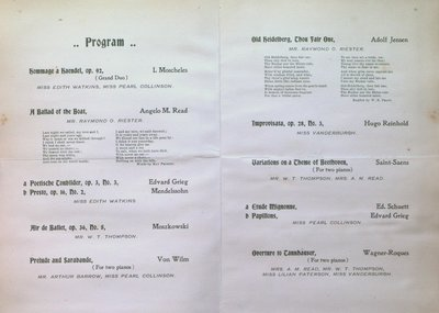 Teresa Vanderburgh's Musical Scrapbook #1 - Piano Recital Program