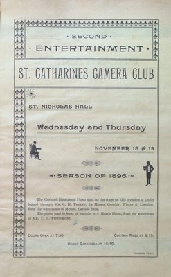 Teresa Vanderburgh's Musical Scrapbook #1 - Program for an Event by the St. Catharines Camera Club