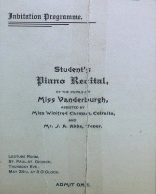 Teresa Vanderburgh's  Musical Scrapbook #1 - Piano Recital Program