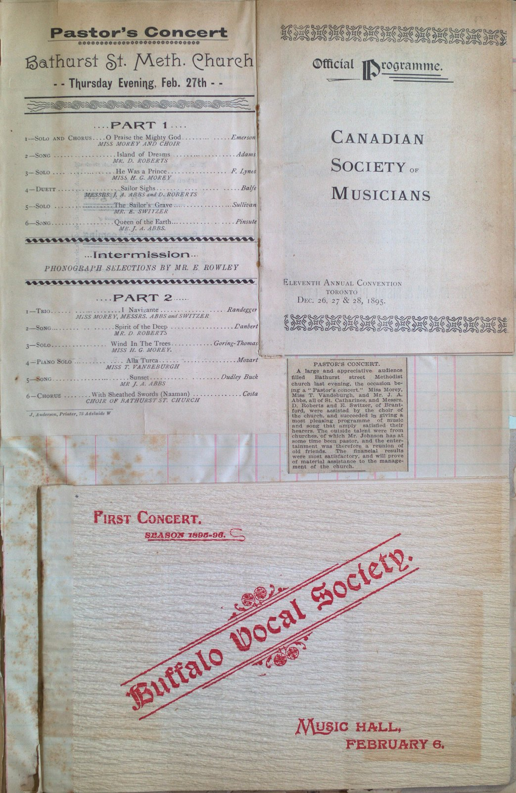 Teresa Vanderburgh's Musical Scrapbook #1 - Concert Programs and Canadian Society of Musicians Convention Program
