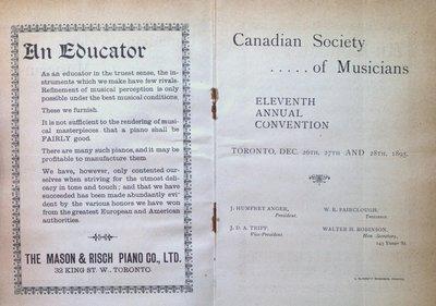 Teresa Vanderburgh's Musical Scrapbook #1 - Canadian Society of Musicians Eleventh Annual Convention Program