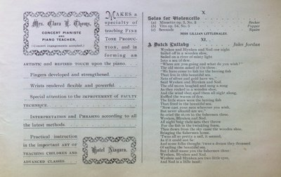 Teresa Vanderburgh's Musical Scrapbook #1 - Buffalo Vocal Society Concert Program