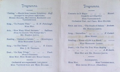 Teresa Vanderburgh's Musical Scrapbook #1 - Program for a Song Recital at St. Nicholas Hall