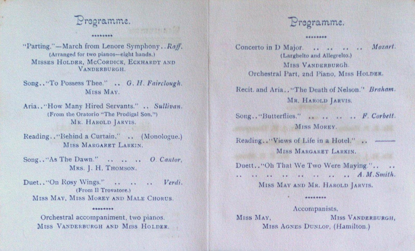 Teresa Vanderburgh's Musical Scrapbook #1 - Program for a Song Recital at St. Nicholas Hall
