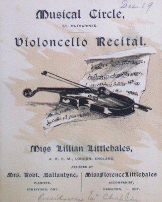 Teresa Vanderburgh's Musical Scrapbook #1 - Musical Circle Violoncello Recital Program