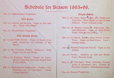 Teresa Vanderburgh's Musical Scrapbook #1 - Musical Circle Sixth Season Schedule