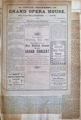 Teresa Vanderburgh's Musical Scrapbook #1 - Grand Opera House Program and Newspaper Clippings