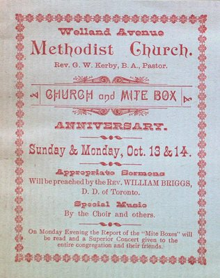 Teresa Vanderburgh's Musical Scrapbook #1 - Welland Avenue Methodist Church Anniversary Pamphlet