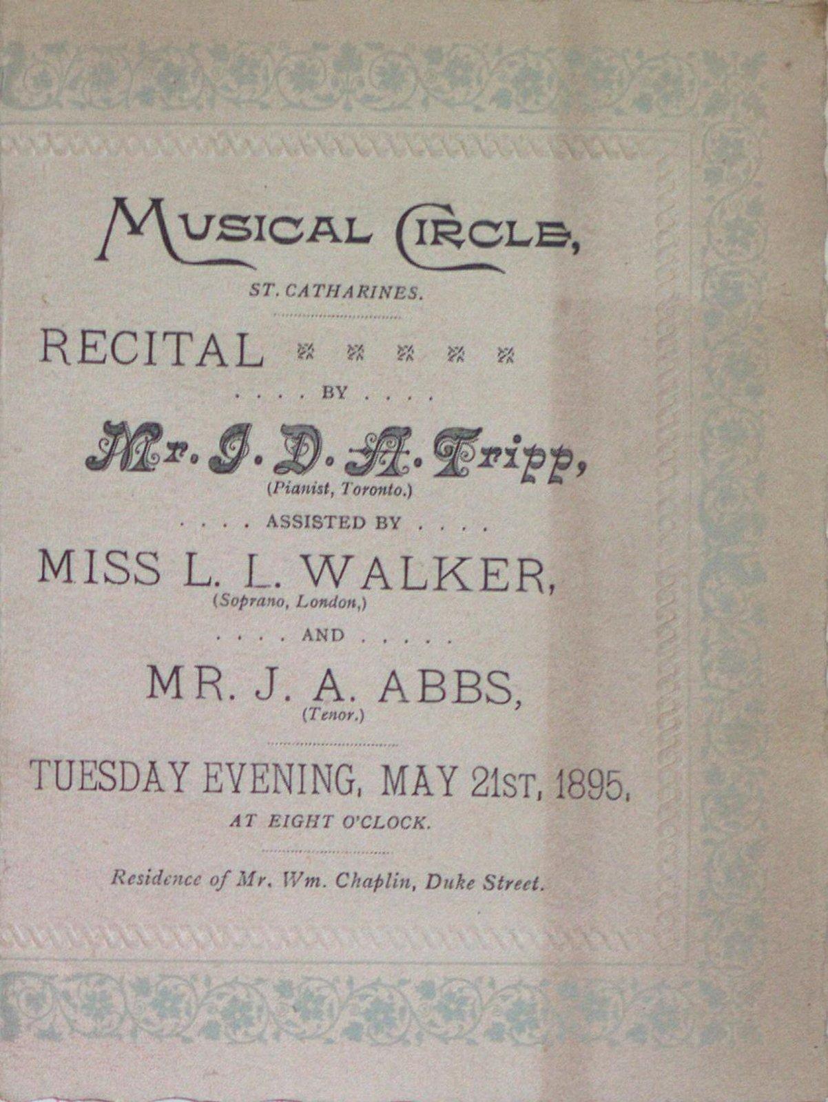 Teresa Vanderburgh's Musical Scrapbook #1 - Musical Circle Recital Program
