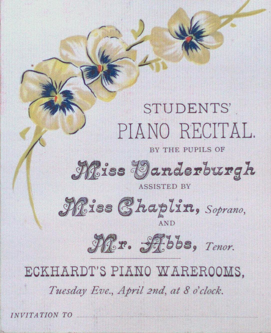 Teresa Vanderburgh's Musical Scrapbook #1 - Students Piano Recital Program