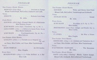 Teresa Vanderburgh's Musical Scrapbook #1 - Students Piano Recital Program