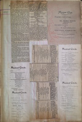 Teresa Vanderburgh's Musical Scrapbook #1 - Newspaper Clippings and Musical Circle Programs