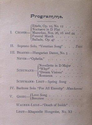 Teresa Vanderburgh's Musical Scrapbook #1 - Musical Circle Piano Recital Program