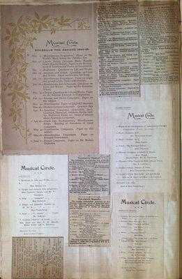 Teresa Vanderburgh's Musical Scrapbook #1 - Musical Circle Programs and Newspaper Clippings
