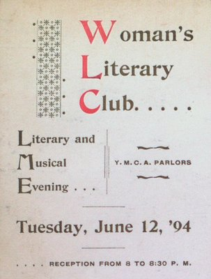 Teresa Vanderburgh's Musical Scrapbook #1 - Woman's Literary Club Event Program