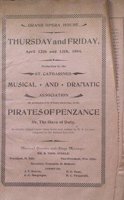Teresa Vanderburgh's Musical Scrapbook #1 - St. Catharines Musical and Dramatic Society Program