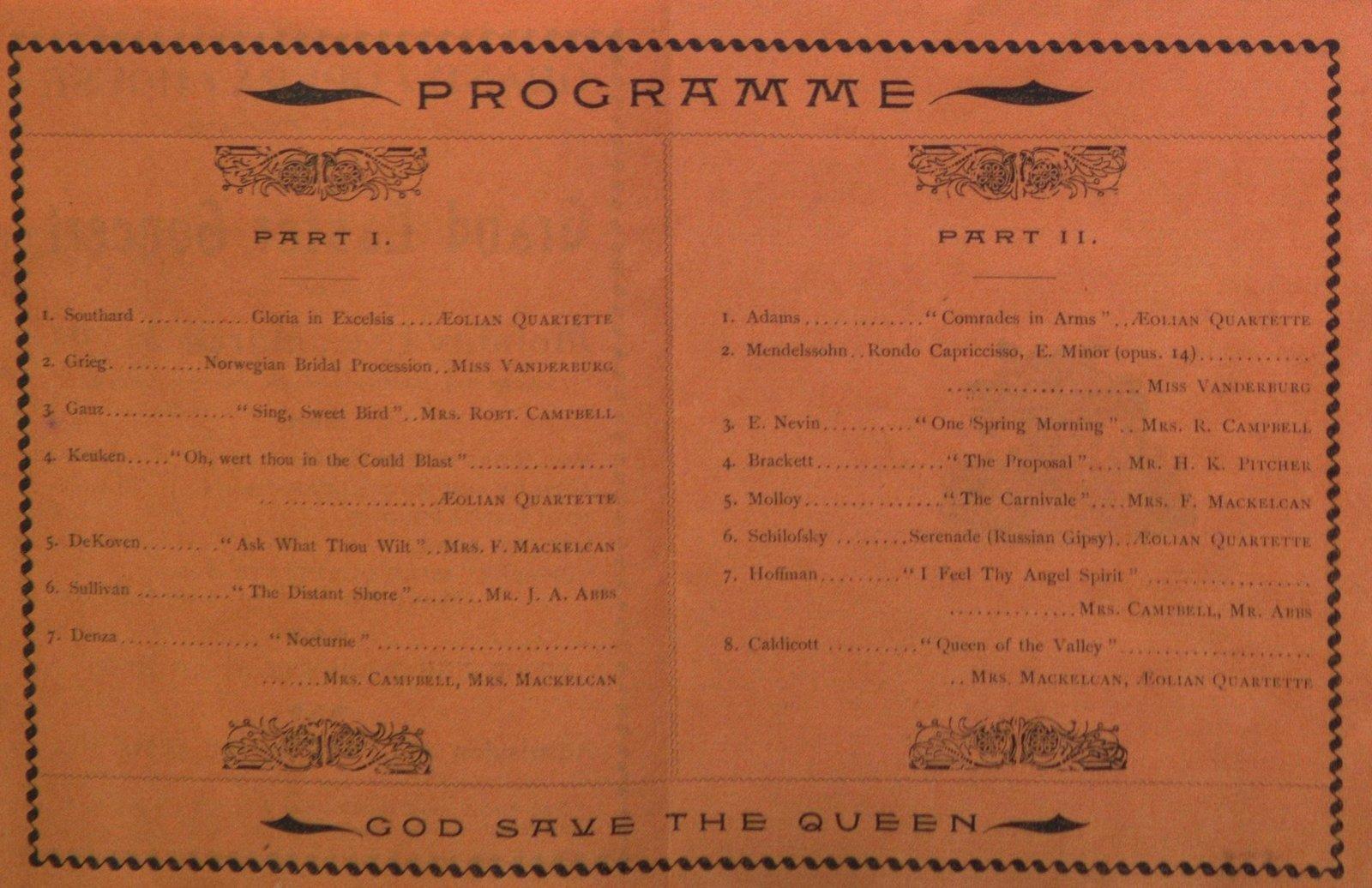 Teresa Vanderburgh's Musical Scrapbook #1 - Grand Easter Concert Program