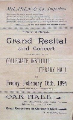 Teresa Vanderburgh's Musical Scrapbook #1 - Grand Recital and Concert at the Collegiate Institute Literary Hall