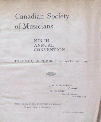 Teresa Vanderburgh's Musical Scrapbook #1 - Canadian Society of Musicians Ninth Annual Convention
