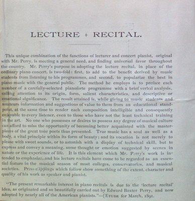 Teresa Vanderburgh's Musical Scrapbook #1 - Pamphlet about Edward Baxter Perry