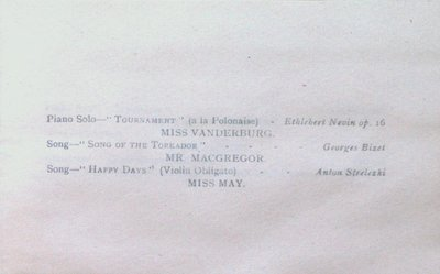Teresa Vanderburgh's Musical Scrapbook #1 - Musicale Program