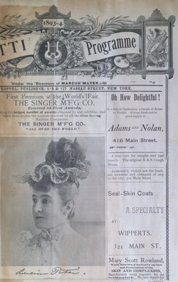 Teresa Vanderburgh's Musical Scrapbook #1 - Program for Mme. Adelina Patti