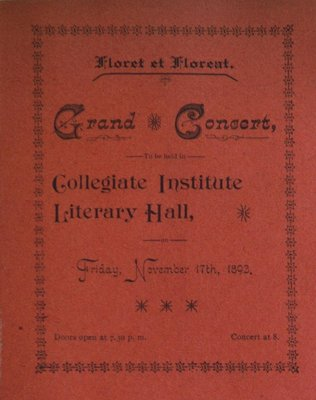 Teresa Vanderburgh's Musical Scrapbook #1 - Grand Concert at the Collegiate Institute
