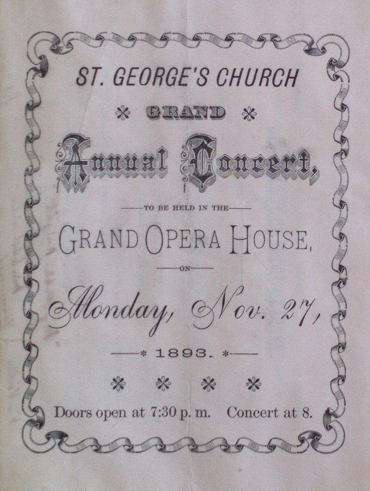 Teresa Vanderburgh's Musical Scrapbook #1 - St. George's Church Grand Annual Concert Program