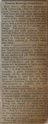 Teresa Vanderburgh's Musical Scrapbooks #1 - Newspaper Clipping
