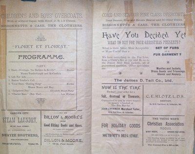 Teresa Vanderburgh's Musical Scrapbook #1 - Program for a Recital by Sara Lord Bailey