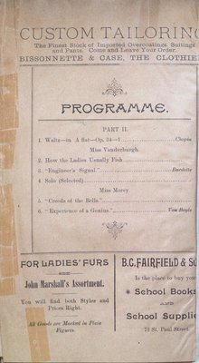 Teresa Vanderburgh's Musical Scrapbook #1 - Program for a Recital by Sara Lord Bailey