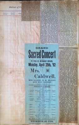 Teresa Vanderburgh's Musical Scrapbook #1 - Newspaper Clippings and Concert Program