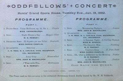 Teresa Vanderburgh's Musical Scrapbook #1 - Oddfellows Concert Program