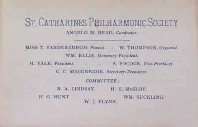 Teresa Vanderburgh's Musical Scrapbook #1 - St. Catharines Philharmonic Society Concert Program