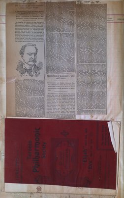 Teresa Vanderburgh's Musical Scrapbook #1 - Newspaper Clippings and Toronto Philharmonic Society Program