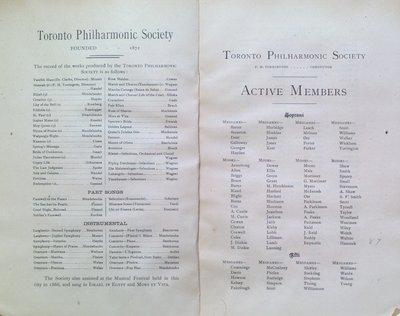 Teresa Vanderburgh's Musical Scrapbook #1 - Toronto Philharmonic Society Program