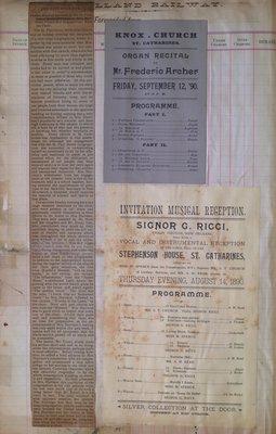 Teresa Vanderburgh's Musical Scrapbook #1 - Newspaper Clipping and Musical Programs